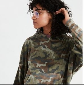 AE Cozy Ever After Hoodie Velour Camo XS